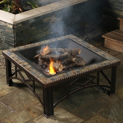 Shop 30in Square Slate Fire Pit Free Shipping Today Overstock