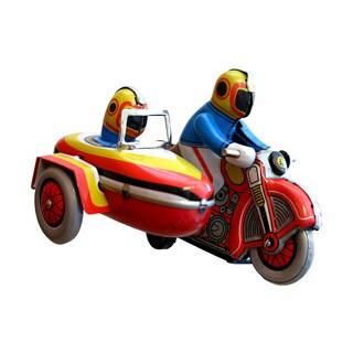 Alexander Taron Collectible Holiday Decor Motorcyle with Sidecar Tin Toy