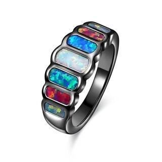 Black Rhodium Plated Multi Color Opal Statement Ring