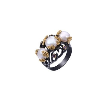 Black Rhodium Plated Faux Pearl and Cubic Zirconia Statement Ring