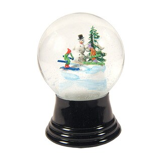Alexander Taron Perzy Holiday Seasonal Medium Snowman with skis Snowglobe