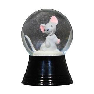 Alexander Taron Perzy Holiday Seasonal Decor Small Gray Mouse Snowglobe