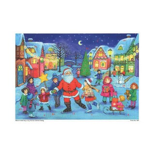 Alexander Taron Sellmer Holiday Seasonal Small Santa with Skaters Advent