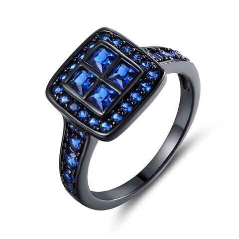 Black Rhodium Plated Princess-Cut Cubic Zirconia Cocktail Ring