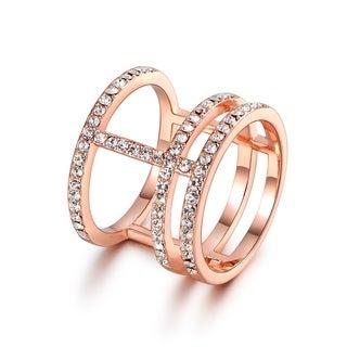 Rose Gold FilledCubic Zirconia Cuff Ring