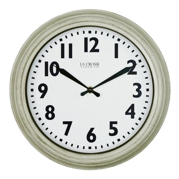 La Crosse Clock 404-3030W 12 In. Distressed White Quartz Wynn Wall clock