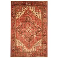 Handmade Herat Oriental Persian Hand-Knotted Tribal Antique Heriz 1940's Wool Rug - 7'3 x 10'2