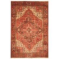 Handmade Herat Oriental Persian Hand-Knotted Tribal Antique Heriz 1940's Wool Rug - 7'3 x 10'2 (Iran)