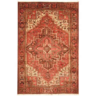 Handmade Herat Oriental Persian Hand-Knotted Tribal Antique Heriz 1940's Wool Rug (7'3 x 10'2) - 7'3 x 10'2