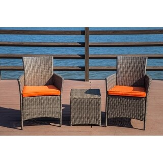 PATIO FESTIVAL ® Paradise 3 Piece Chairs & Side Table Set w/ Cushions