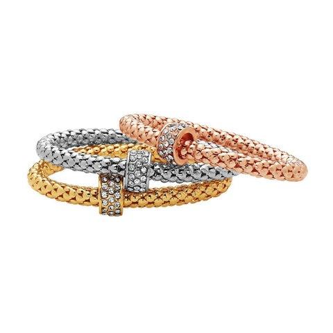 Gold Plated Tri-Gold Bracelet 3pcs Set