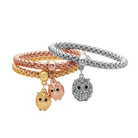 Gold Plated Tri-Gold Owl Charm Bracelet 3pcs Set