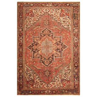 Handmade Herat Oriental Persian Hand-Knotted Tribal Antique Heriz 1920's Wool Rug (9'2 x 12') - 9'2 x 12'