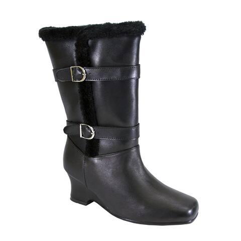PEERAGE Rihanna Women Extra Wide Width Fleece Lined Leather Boots