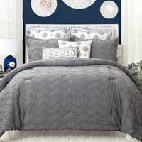 DriftAway 3 Piece Elena Pinch Pleat Designer Embellished Comforter Set