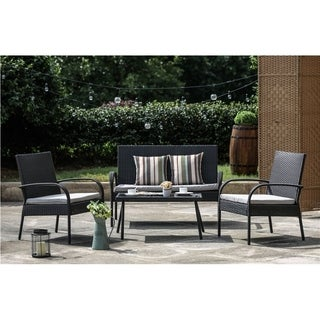 PATIO FESTIVAL ® Delray 4 Piece Patio Afternoon Tea Table and Chairs Set w/ Cushions