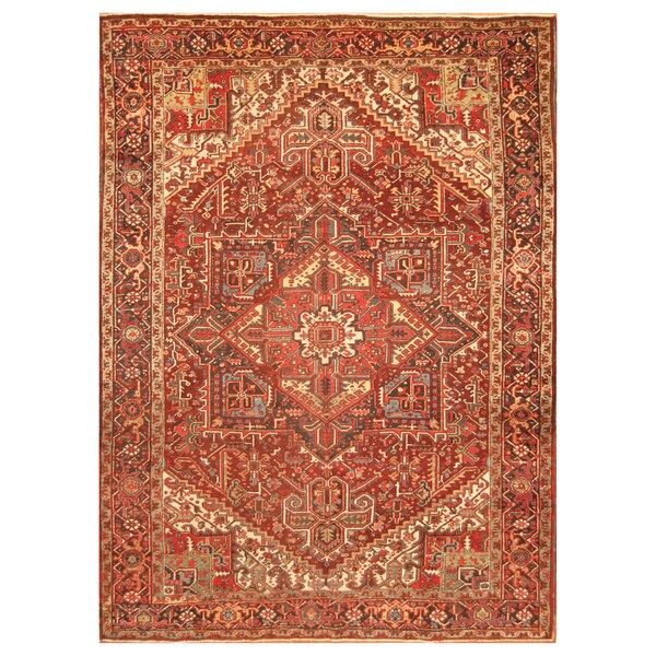 Handmade Herat Oriental Persian Hand-Knotted Tribal Antique Heriz 1920's Wool Rug (8'9 x 11'3)