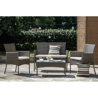 PATIO FESTIVAL ® Sanibel 4 Piece Patio Afternoon Tea Table and Chairs Set w/ Cushions