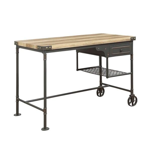 ACME Itzel Desk in Sandy Gray and Oak
