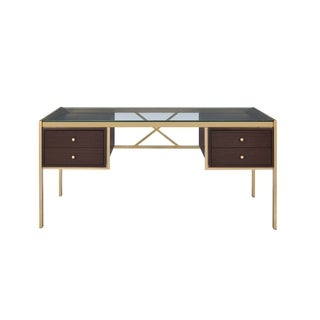 ACME Yumia Desk in Clear Glass and Gold