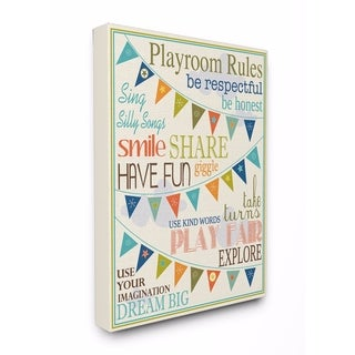 Stupell Industries Playroom Rules With Pennants In Blue Wall Art