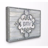 Stupell Industries Bath Grey Bead Board with Scroll Plaque Wall Art