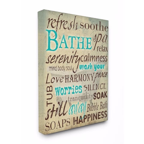 Stupell Industries Bathe Wash Your Worries Bathroom Wall Art