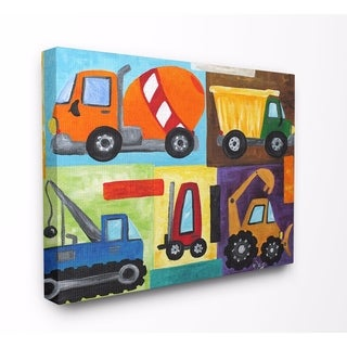 Stupell Industries Construction Trucks Set Wall Art