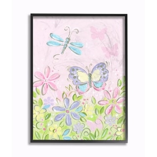 Stupell Industries Pastel Butterfly And Dragonfly Wall Art