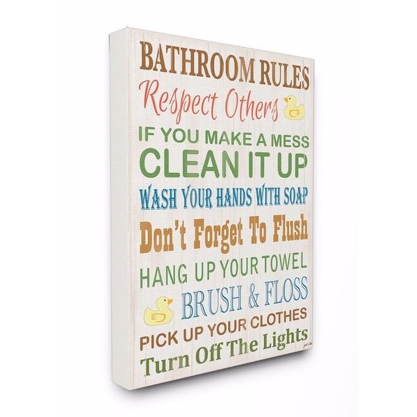 Stupell Industries Bathroom Rules Rubber Ducky Bathroom Wall Art