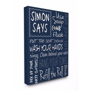 Stupell Industries Simon Says Bath Rules Chalkboard Bathroom Wall Art