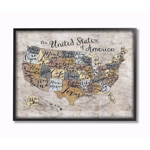 Stupell Industries United States Map Art Wall Art