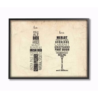 Stupell Industries His And Hers Wine And Beer Kitchen Wall Art