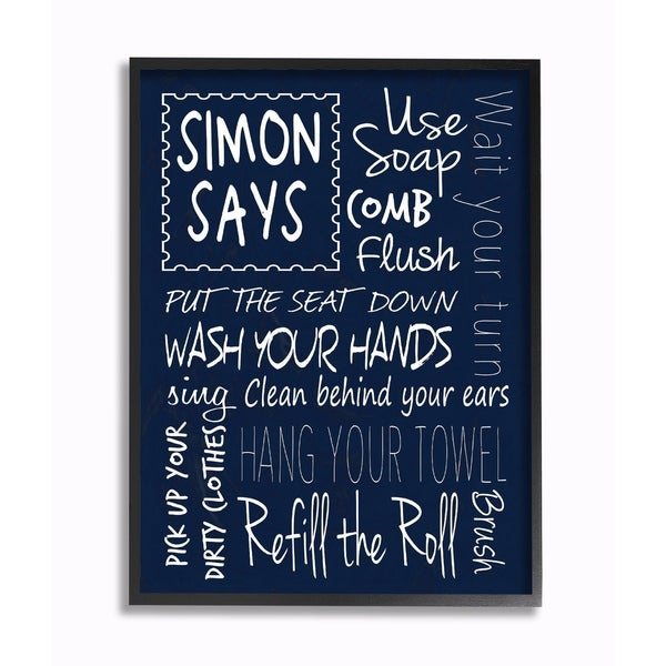 Stupell Industries Simon Says Bath Rules Chalkboard Bathroom Wall Art  sc 1 st  Overstock.com & Shop Stupell Industries Simon Says Bath Rules Chalkboard Bathroom ...