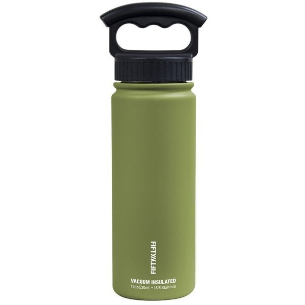 FiftyFifty 18 oz Vacuum Insulated Water Bottle with Three-Finger Grip Lid Olive