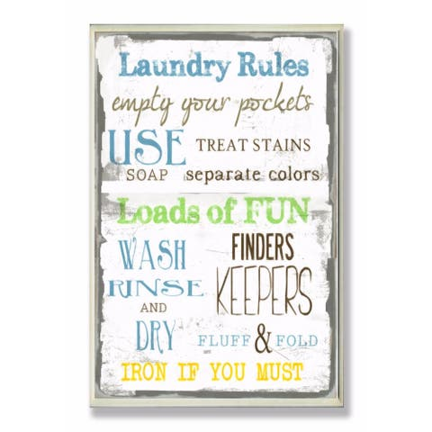 Stupell Industries Laundry Rules Bathroom Wall Art