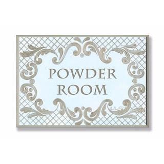 Stupell Industries Powder Room Aqua And Gold Lattice Bathroom Wall Art
