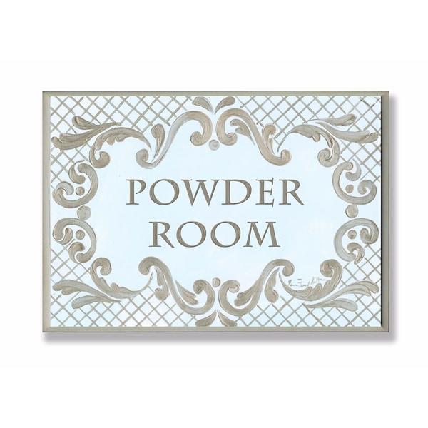 Shop Stupell Industries Powder Room Aqua And Gold Lattice