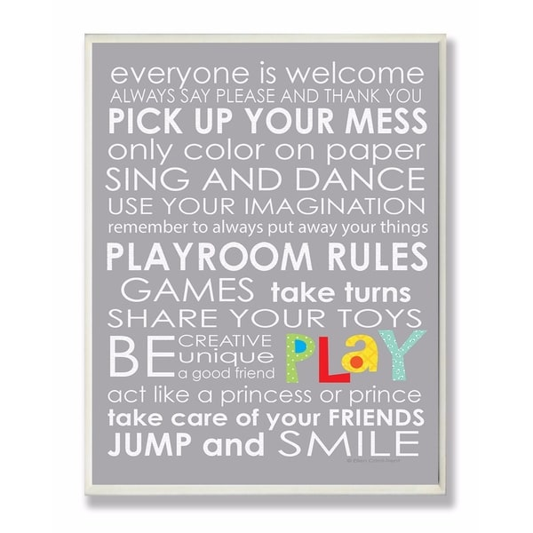 Stupell Industries Everyone Is Welcome Playroom Rules On Grey Wall Art  sc 1 st  Overstock.com & Stupell Industries Everyone Is Welcome Playroom Rules On Grey Wall ...