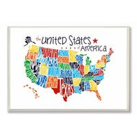 Stupell Industries Use Rainbow Map On White Background Wall Art