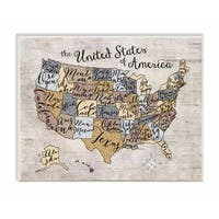 Stupell Industries United States Map Art Wall Art