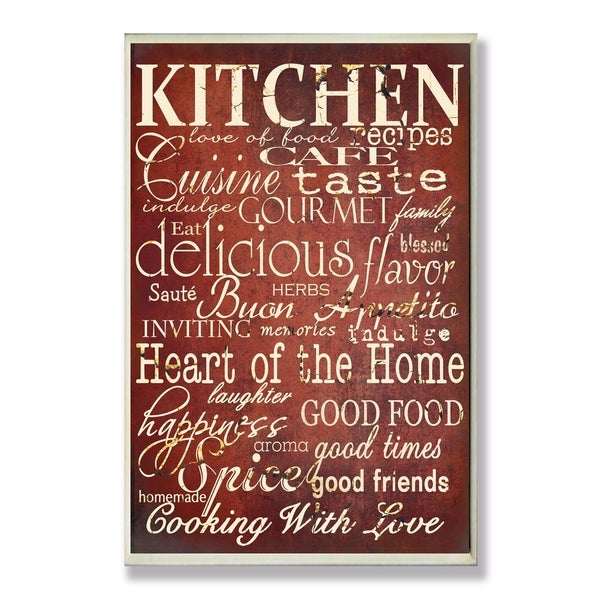 Shop Stupell Industries Words in the Kitchen, Off Red Wall Art - On ...