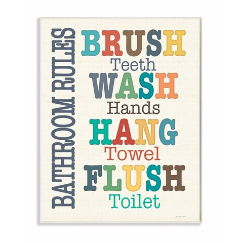 Stupell Industries Colorful Bathroom Rules Typog Art Wall Art
