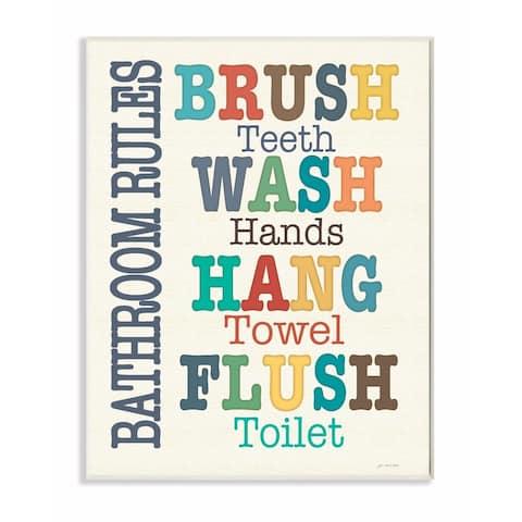 Stupell Industries Colorful Bathroom Rules Typog Art Wall Art
