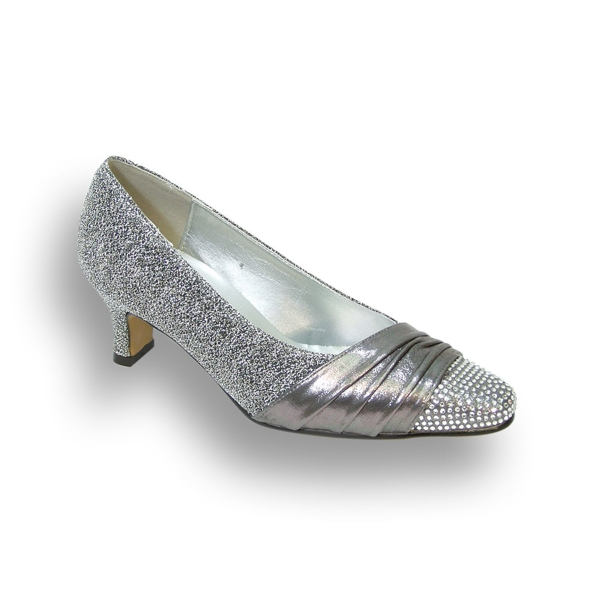 FLORAL Dolly Women Extra Wide Width Rhinestone Toe Cap Glittery Pumps (More  options available)