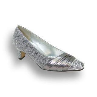 FLORAL Dolly Women Extra Wide Width Rhinestone Toe Cap Glittery Pumps