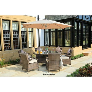 Turin 8-piece Round Outdoor Patio Wicker Dining Set with 9.8 ft. Steel Market Umbrella by Direct Wicker