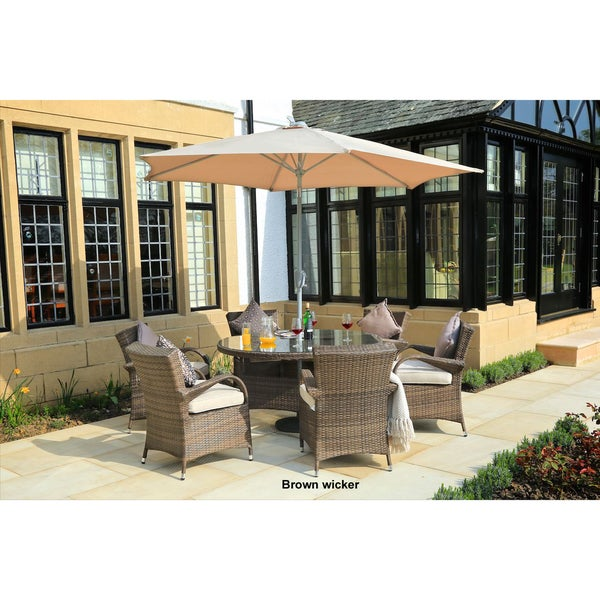 Turin 8-piece Round Outdoor Patio Wicker Dining Set by Direct Wicker(without market umbrella)