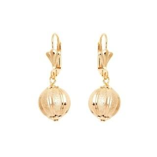 Gold Plated Gold Diamond-Cut Ball Drop Earrings