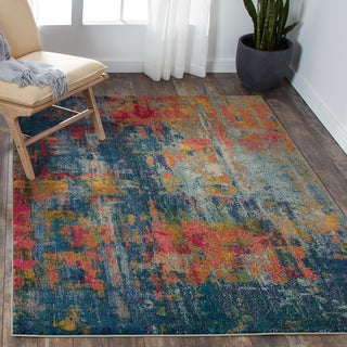 Nourison Celestial Blue/ Yellow Area Rug (5' 3 x 7' 3)
